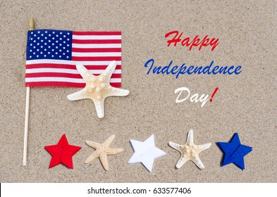 Happy 4th of July USA, Independence day background with American flag, stars and starfishes