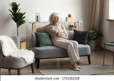 Happy 50s senior woman sit relax on sofa in living room look in distance thinking or dreaming, smiling elderly 60s grandmother rest at home enjoy tea or coffee, visualizing or pondering on weekend