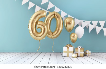 Happy 60th birthday party celebration balloon, bunting and gift box. 3D Render