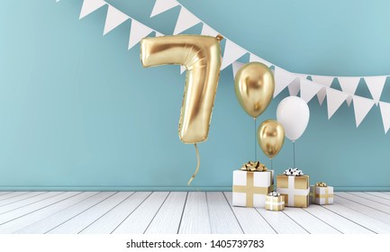 Happy 7th birthday party celebration balloon, bunting and gift box. 3D Render