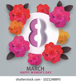 happy 8 march women's day. heart flowers and number 8