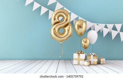 Happy 8th birthday party celebration balloon, bunting and gift box. 3D Render