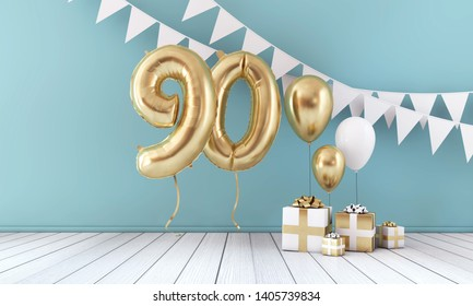Happy 90th birthday party celebration balloon, bunting and gift box. 3D Render