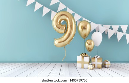 Happy 9th birthday party celebration balloon, bunting and gift box. 3D Render