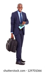 happy african american business traveller with suitcase and air ticket