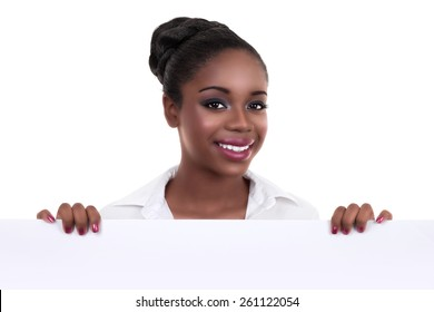 Happy African American business woman holding sign or banner isolated on white
