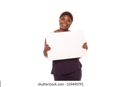 Happy African American business woman showing empty copy space