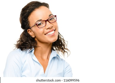 Happy African American Businesswoman smiling isolated on white background
