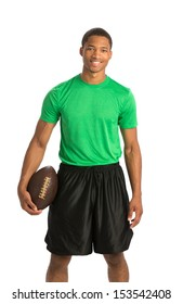 Happy African American College Student Holding Football on Isolated White Background