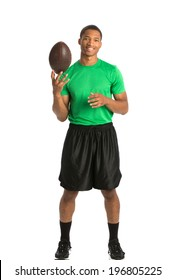 Happy African American College Student Tossing Football on Isolated White Background