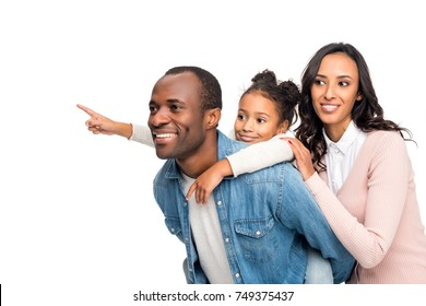 happy african american family looking away isolated on white