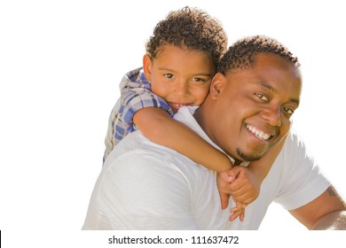 Happy African American Father and Mixed Race Son Playing Piggyback Isolated On A White Background.