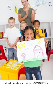 happy african american girl in classroom