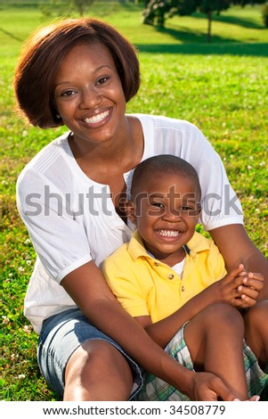 Happy African American Mom Poses Her Stock Photo Edit Now 34508779
