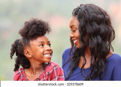 Happy African American  Mother and Child