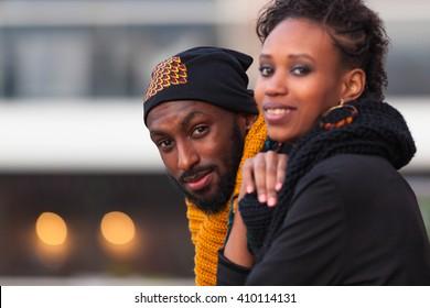 Happy African American teenagers Outdoor portrait