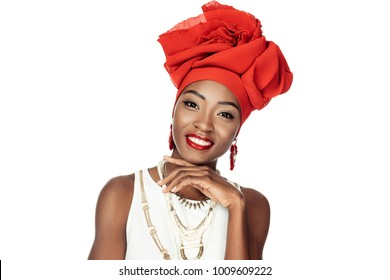 happy african american woman in wire head wrap isolated on white