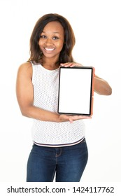 Happy african black american young woman showing blank tablet computer screen