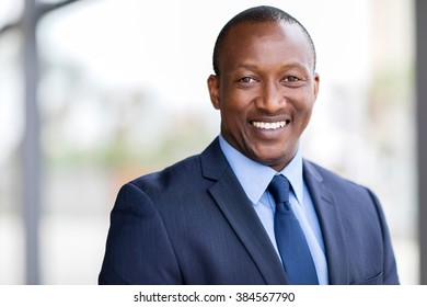 happy african business man close up portrait