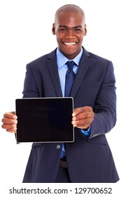 happy african businessman holding tablet computer