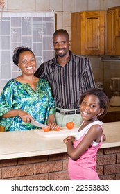 happy african family at home