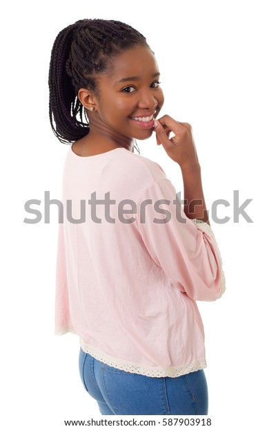 Happy african girl isolated on white background
