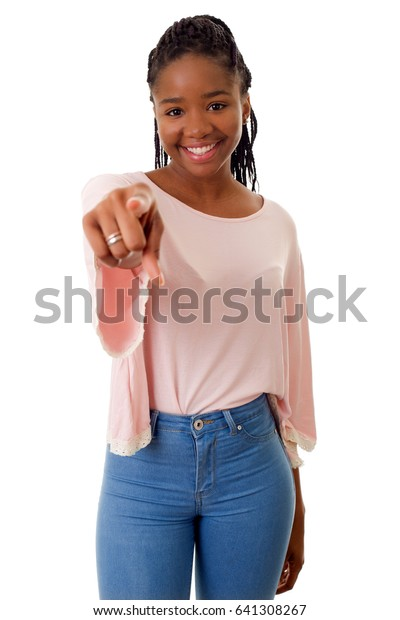 Happy african girl pointing, isolated on white background