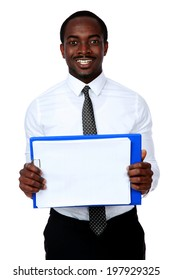 Happy african man holding folder and showing blank document