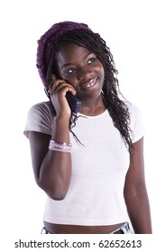 happy african woman speaking at her telephone (isolated on white)