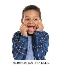 Happy African-American boy on white background