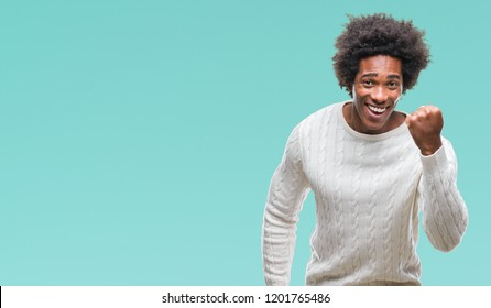 Happy afro american black man celebrating, very excited and confident