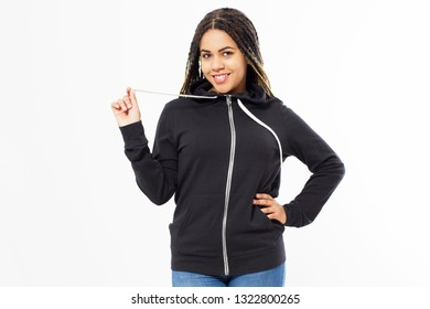 Happy Afro American Girl In Black Sweatshirt On White Background Isolated. Black Woman in hoodie mock up