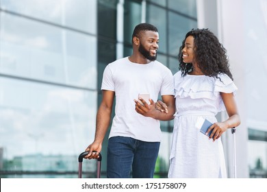 Happy Afro Couple Going To Travel Together, Came To Aiport With Passports And Tickets, Free Space