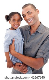 Happy Afro-American dad holding her little daughter agaisnt white background