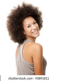 Happy Afro-American young woman isolated on white laughing