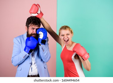 happy after fight. problems in relationship. sport. bearded man hipster fighting with woman. Strength and power. knockout punching. who is right. win the fight. family couple boxing gloves.
