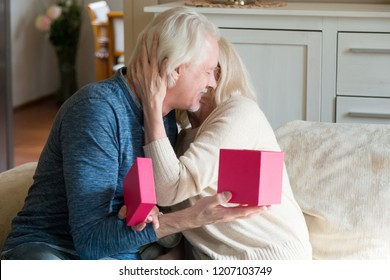 Happy aged wife hugging beloved husband thanking for birthday present, loving senior man making surprise giving gift in box to woman, elderly romantic couple celebrate anniversary at home