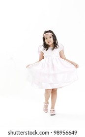 happy angel girl over white background