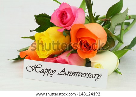 happy anniversary card with colorful bouquet of roses - Happy Anniversary Cards