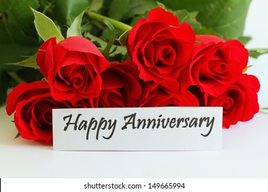 happy anniversary card with red roses - Wedding Anniversary Cards