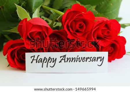 happy anniversary card with red roses - Happy Anniversary Cards