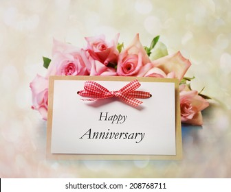 Happy Anniversary greeting card with roses