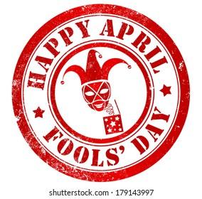 Happy april fools' day grunge stamp, in english language