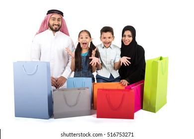 happy Arab family shopping