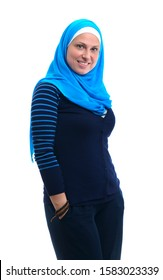 Happy Arab Woman Wearing Muslim Clotiong with A Beautiful Smile, Isolated on White Background