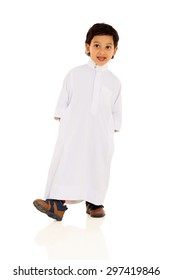 happy arabic boy in traditional clothes