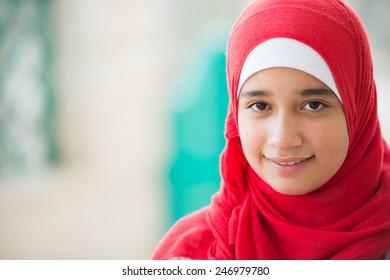Happy Arabic Muslim Middle Eastern girl