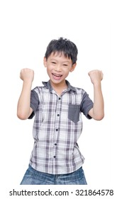 Happy Asian boy isolated over white background