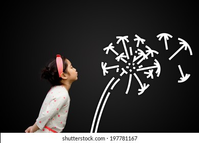 Happy Asian child blowing graphic of dandelion