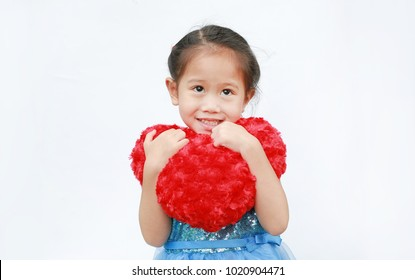 Happy Asian child girl with heart Valentine's Day isolated on white background.